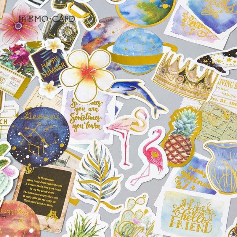 24Pcs/lot Creative Golden Animals Plants Decoration Sticker Diy Ablum Diary Scrapbooking Label Sticker Stationery School Supply