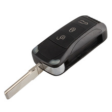 MAYITR New Hot Folding 3 Button Flip Remote Key Fob Case Shell Replacement for Porsche Cayenne 2003-2006 2008-2010