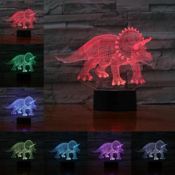 Novelty 3D Lamp Illusion Night Light LED Bulb USB RGB Multicolor Dinosaur Stegosaurus Jurassic Park World Childrens Gifts Xmas