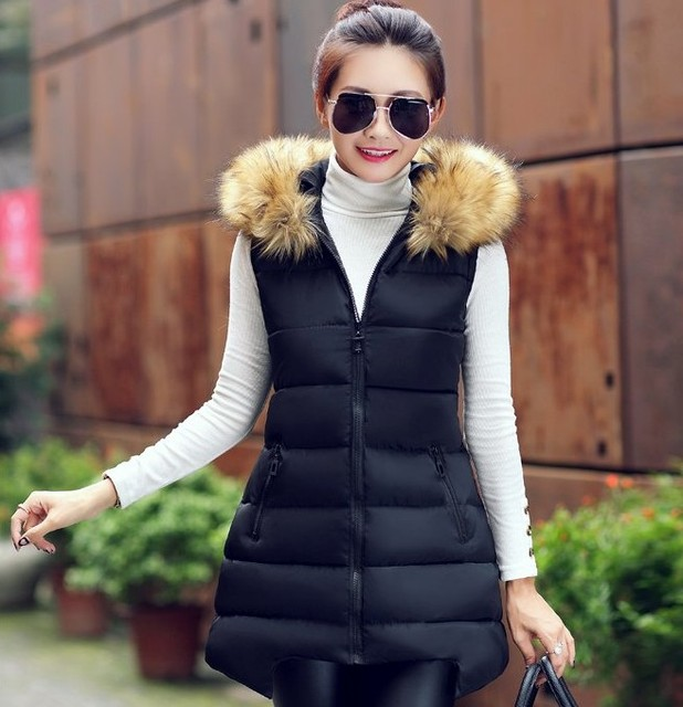 2017 Spring winter Cheap wholesale Hot selling Fashion artificial fur collar Down Cotton female medium-long Lady warm thick Vest
