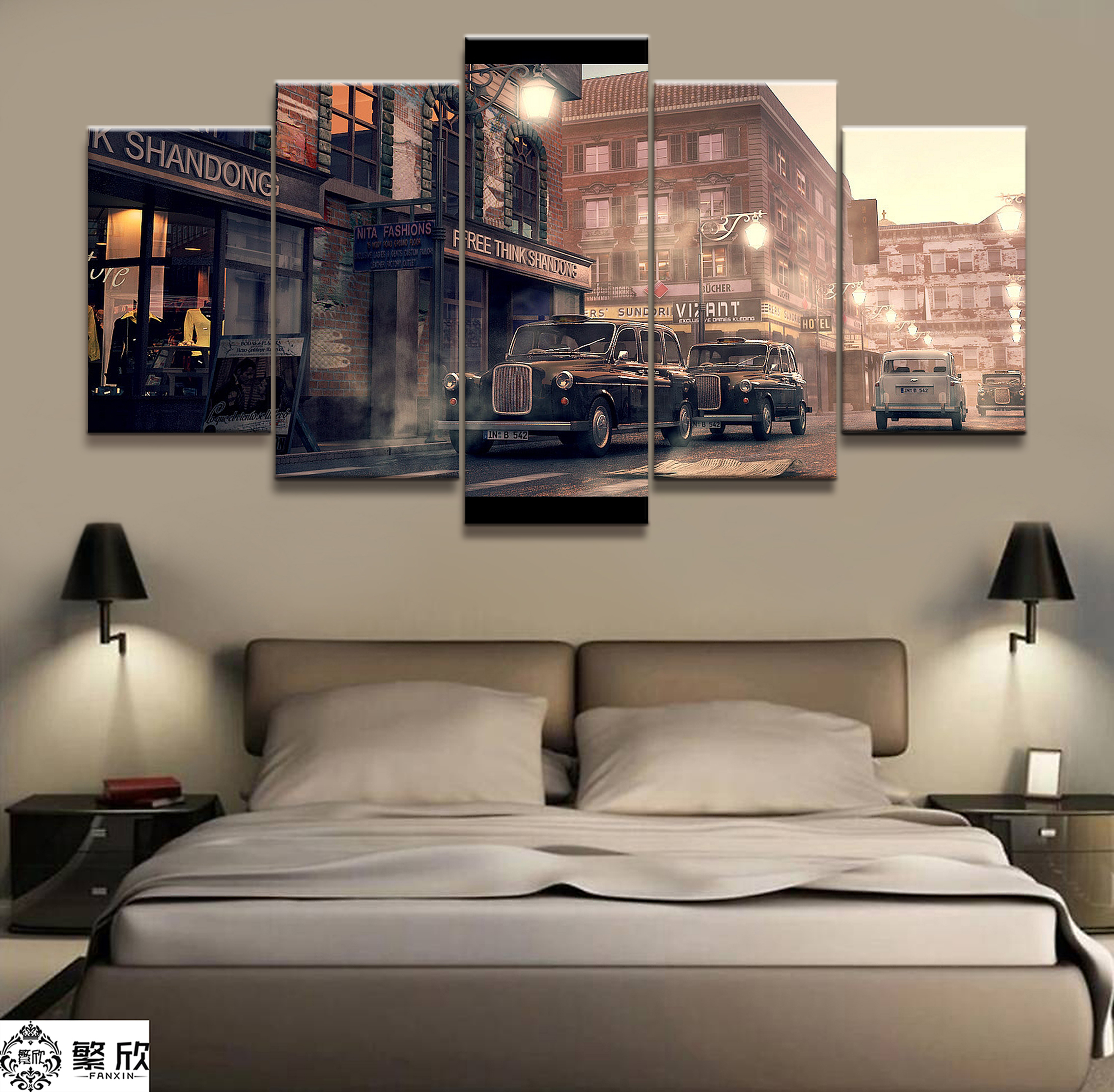 5 Pieces Super Vintage Car Street Poster Modern Wall Art Decorative Modular Framework Picture Canvas HD Printed One Set Painting in Painting Calligraphy from Home Garden