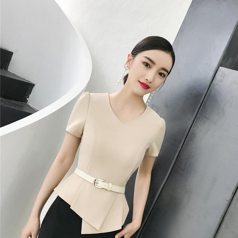 Formal Elegant Beige Summer Short Sleeve Blazers & Jackets Coat For Women Business Work Wear Beauty Salon Tops Clothes With Belt