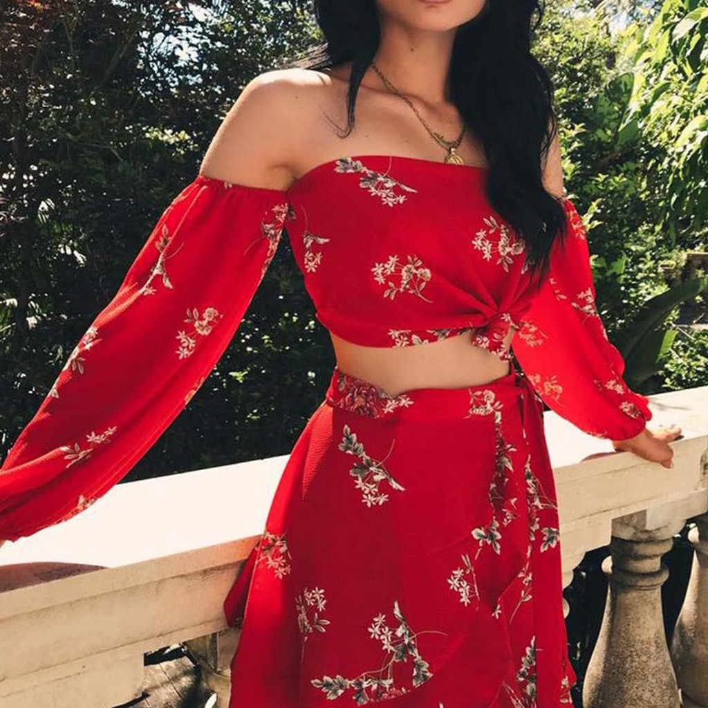 Womail セット女性シフォンセクシーな長袖花柄の女性のフリルスカートセットツーピースセット夏ビーチが 27