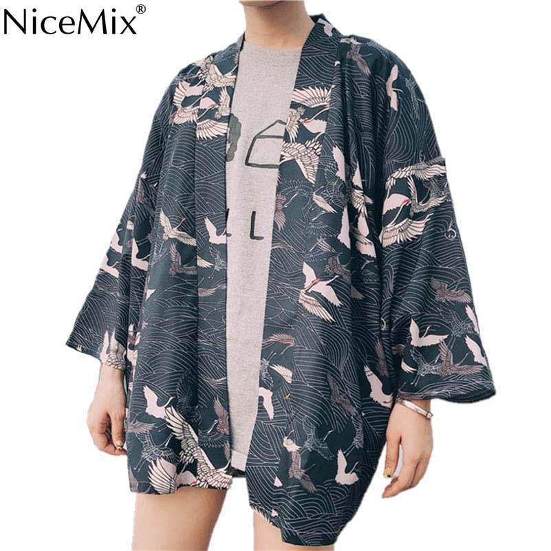 NiceMix 2019 New  Harajuka Style Kimono Blouse Vintage White Crane Print Loose Large Size Chiffon Shirt Sun Protection Car