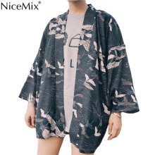 NiceMix 2019 New  Harajuka Style Kimono Blouse Vintage White Crane Print Loose Large Size Chiffon Shirt Sun Protection Car