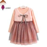 LILIGIRL Long Sleeve Girl Dress Autumn Dresses Children Clothing Princess Dress Pink Wool Bow Design Girls