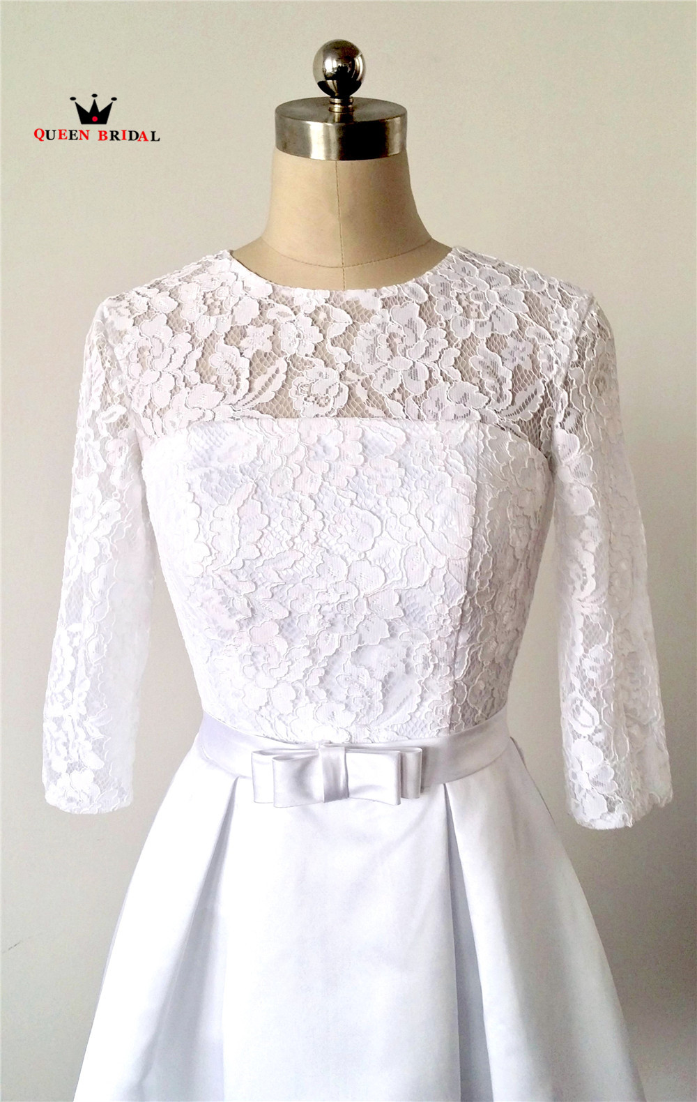 A-line Short Lace Wedding Dress