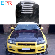 For Nissan Skyline R34 GTT Carbon Fiber Hood Body Auto Kit Tuning Part Nismo