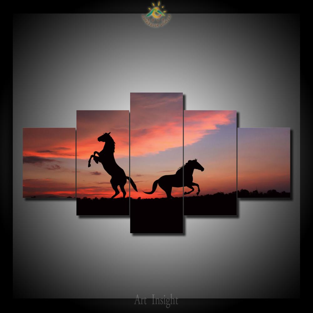 5 Pieces/set Sunset kissed two horses HD Printed Wall Art Print on Canvas for Home Decoration Wall Art Picture for Living Room