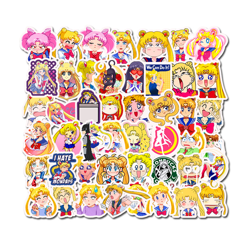 50 PCS Self-made Guardian Sailor Moon Girl Scrapbooking Decorative Sticker Decoration /waterproof Paper Stickers