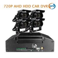 Free Shipp I O HDD 4CH 720P AHD GPS Car DVR Recorder MDVR Rear Side Front