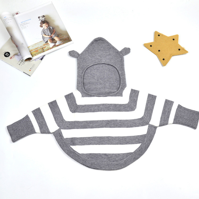 2016 New Autumn Fashion Baby Sweater Baby Boy Girl Coat Kids Cotton Jacke Outfits Gray/Black/Red Sweater Outwear Striped Clothes
