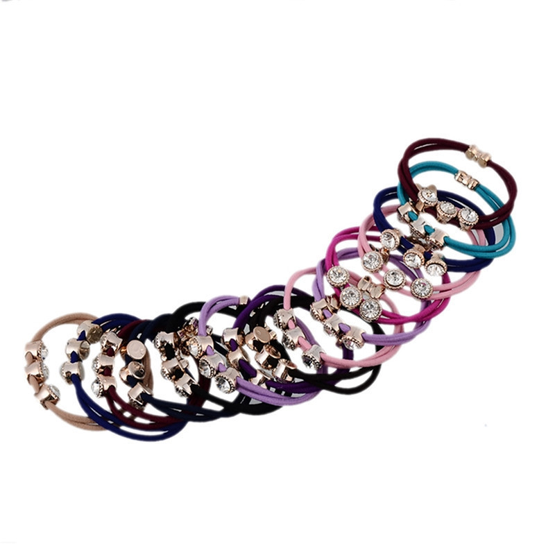 Wholesale 5pcs Fashion Girls Crystal Rhinestone Hair Band Rope Elastic Ponytail Holder Lovely Female Jewelry Multi Colors