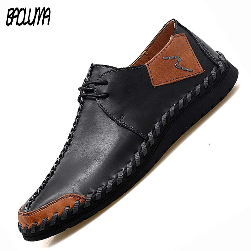 2019 Man Casual Shoes Men Genuine Leather Handmade business Moccasins Loafers Comfy Male Driving Boat Sneaker Big Size 38 47