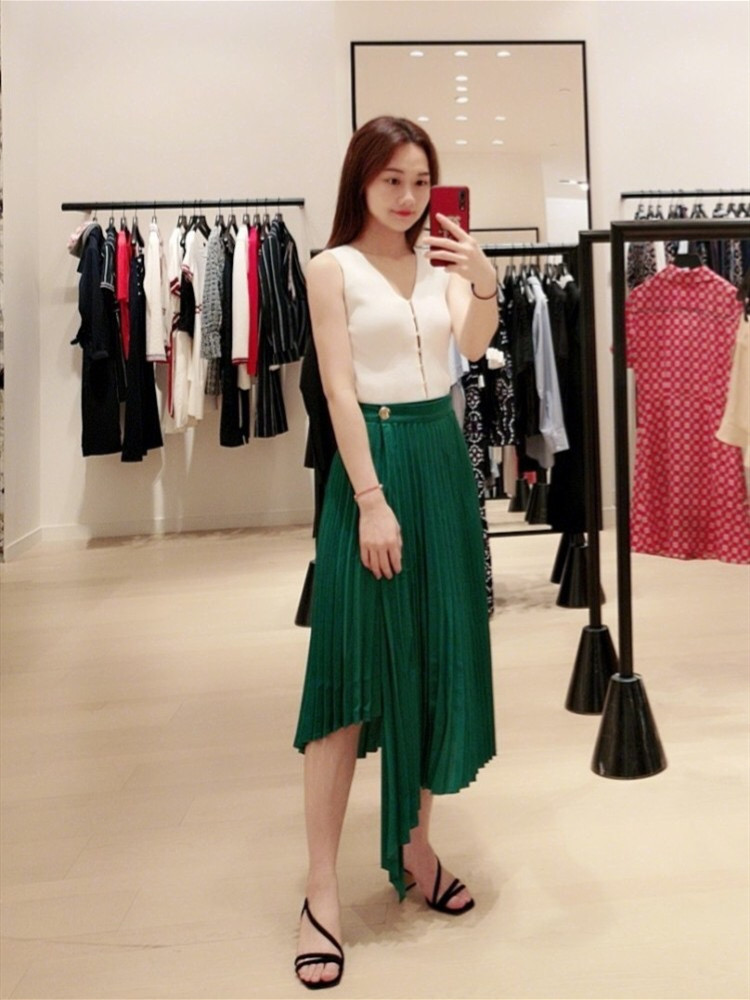 Women Skirts New 2019 Summer Long Casual Pleated loose jupe femme
