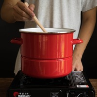 Japanese Red Porcelain Enamel Steamer Cooker Ears Thickened Heighten Soup Stew Pot Household Cooking Pan Stockpot
