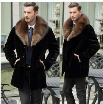 S/6Xl Mens Imitation Fur Jackets Long Faux Mink Fur Outwears Black Casual Male Overcoats Man-Made Fur Clothes Plus Size K512