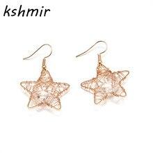 Original design feeling winding pentagram transparent gem cute girl earrings female stars Contracted pendant