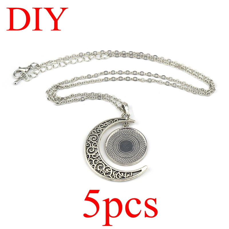 5PCS DIY Crescent Moon Necklace Fit  20MM Glass Cabochon Handmade Blank Pendant Necklace Jewelry Making Supplies