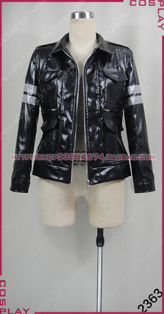 2016 Resident EVIL Leon Kennedy PU Faux Fur Jacket Leather Cosplay Costume 221b18e58cf3