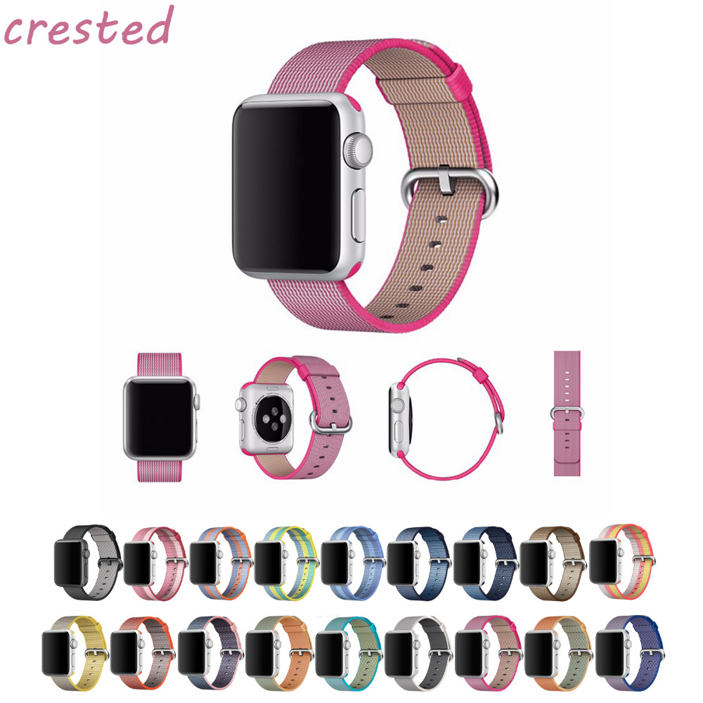 CRESTED Woven Nylon band For Apple Watch 38mm 42mm strap wrist bracelet apple smart watch strap for iwatch series 1/2/3