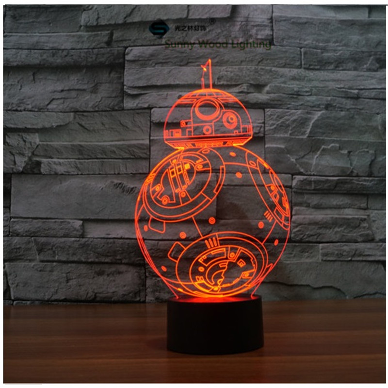 Star Wars BB-8 droid LED 3D lamp ,Visual Illusion RGB 7color changing 5V USB input toy light for desk decoration ynynoo star wars bb8 droid 3d bulbing light toys 2016 new 7 color changing visual illusion led lamp yoda millennium falcon toy