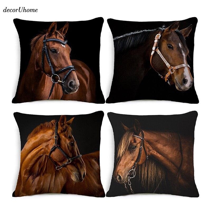 decorUhome Nordic Animal Cushion Cover Horse for Children Decorative Cushion Covers for Sofa Pillow Case Funda Conjin Almofadas