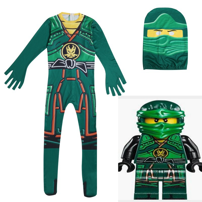 Green Ninjago Cosplay Costume Boys Jumpsuits Children Halloween Christmas Fancy Party Clothes Ninja Costume Streetwear Suits