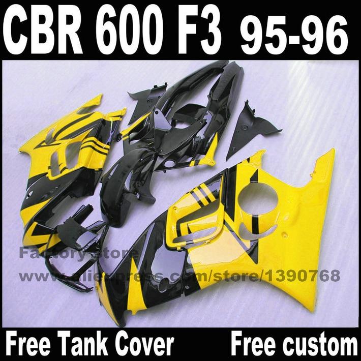Full fairing parts&Tank cover kit for HONDA CBR 600 F3 fairings 1995 1996 motobike  95 96 yellow black  set CN40