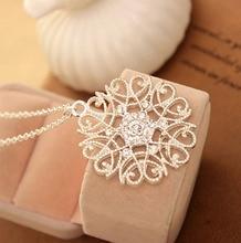 LNRRABC Women Silvery Black Hollow Flower Pendent Necklace alloy Sweater Woman Fashion Luxury Jewelry Accessory