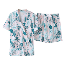 Summer New Sexy Bathrobes Pajamas Woman Robe Set 100% Pure Cotton Short Sleeve 2 Pcs Hawaiian Style Fashion Sleepwear