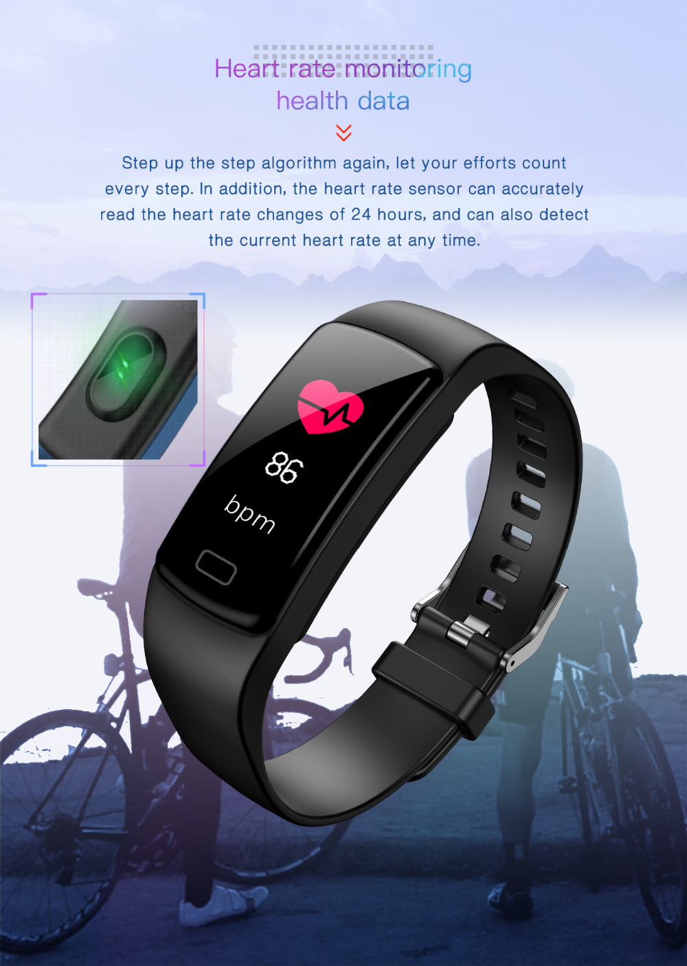 Image 5 - Smart band bracelet Heart Rate monitor Fitness Tracker blood pressure waterproof sports smart watch for andriod ios fashion Hot-in Smart Wristbands from Consumer Electronics