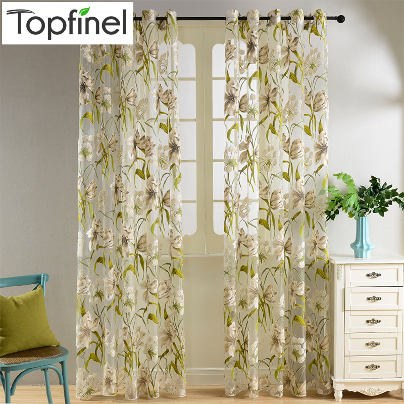 Top Finel Tropical Floral Print Semi Sheer Curtains For Living Room Bedroom  Kitchen Printed Flower Window Curtains Tulle In Curtains From Home U0026 Garden  On ... Part 84