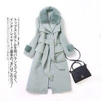 2017 зима новый Для женщин пальто с мехом, элегантный норки Мех животных воротник Куртки Альпака меховая куртка для девочек длинное шерстяное
