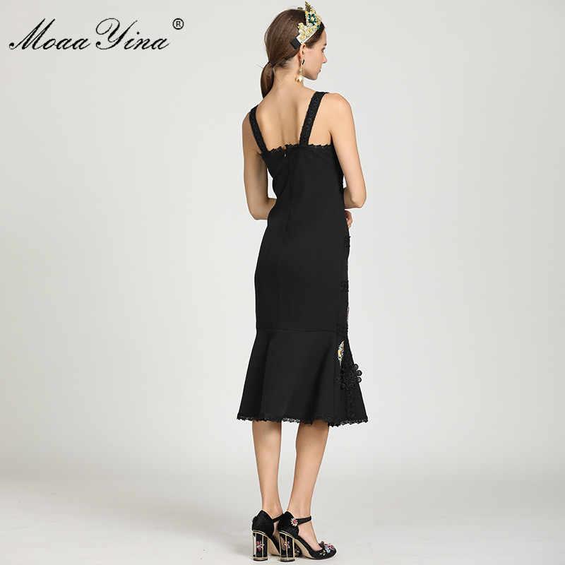MoaaYina, модное дизайнерское платье на бретельках, летнее женское платье, кружевное платье с аппликацией, сексуальная упаковка, ягодицы, элегантное платье русалки