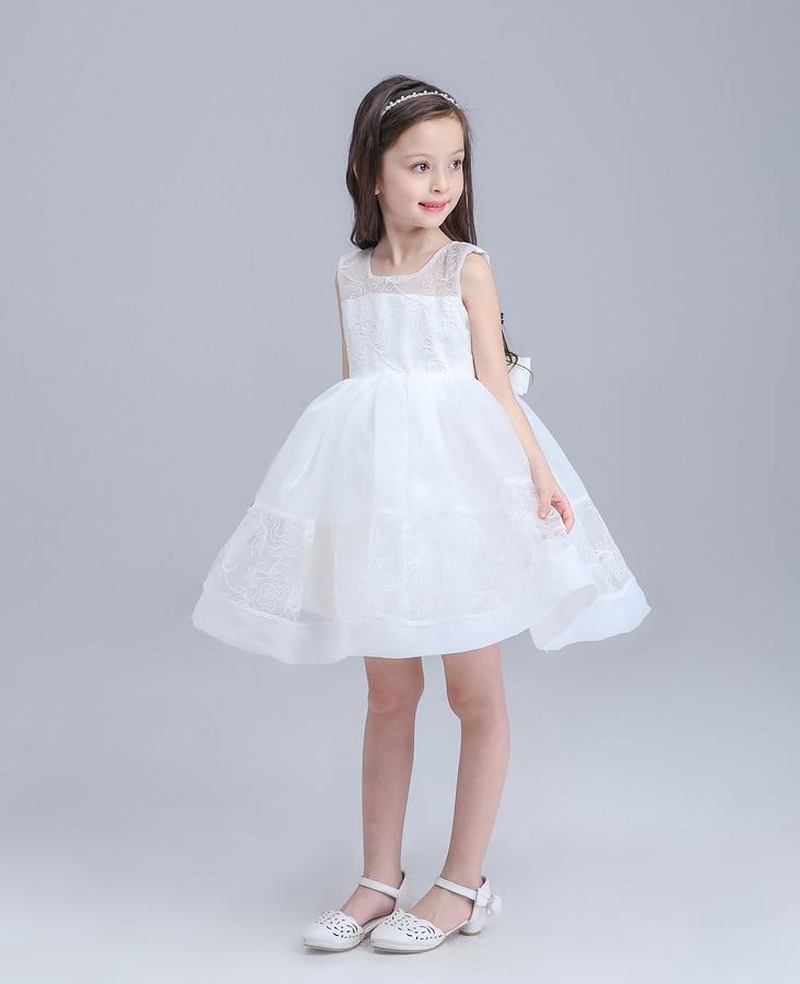 White Flower Girl Princess Dress Girl Party Pageant Wedding Bridal Dress Children Bridesmaid Toddler Elegant Dress Girls