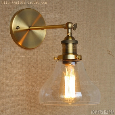 Retro RH Loft Style Industrial Wall Lamp VIntage Fixtures Glass Lampshade LED Stair Light Edison Wall Sconce Luminaire Aplik  цена и фото