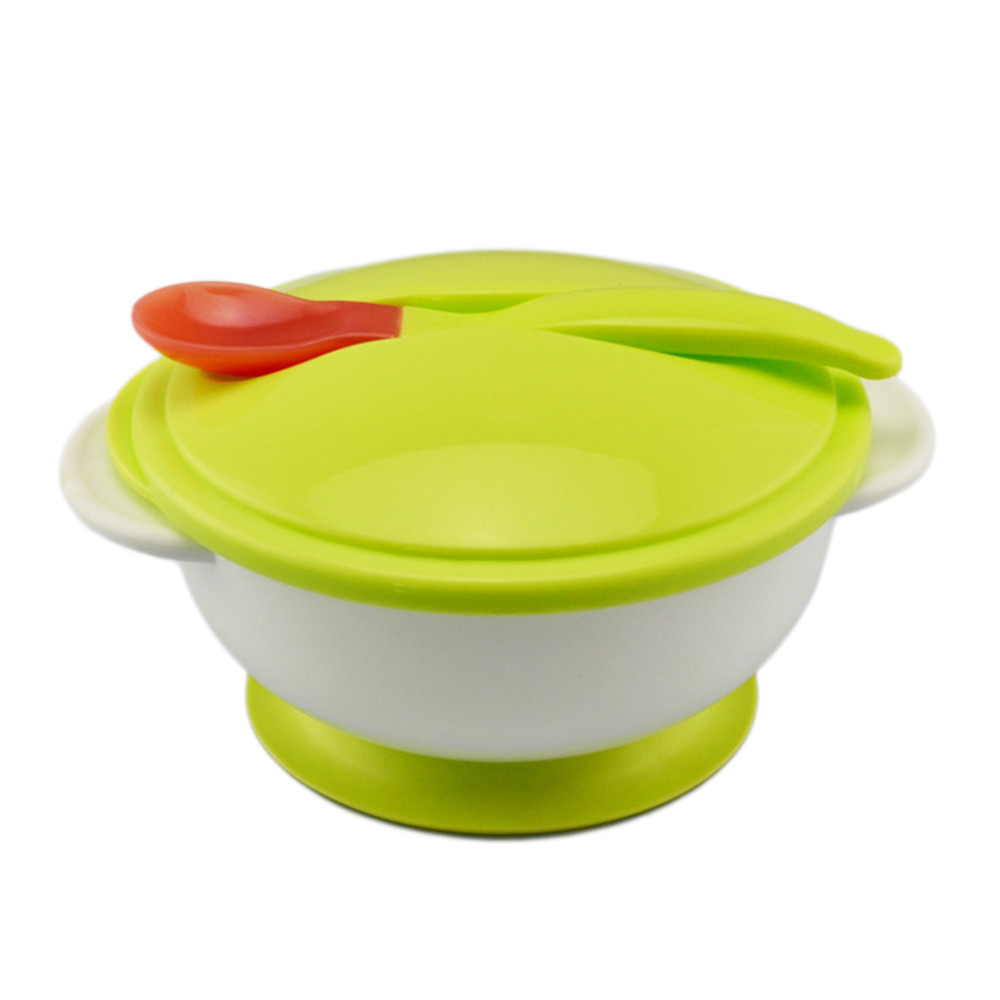 Baby Kinder Sauger Schüssel Löffel Set Kleinkind Baby Fütterung Essen Lebensmittel Nicht-slip Zwei-handed Sauger Schüssel + Löffel