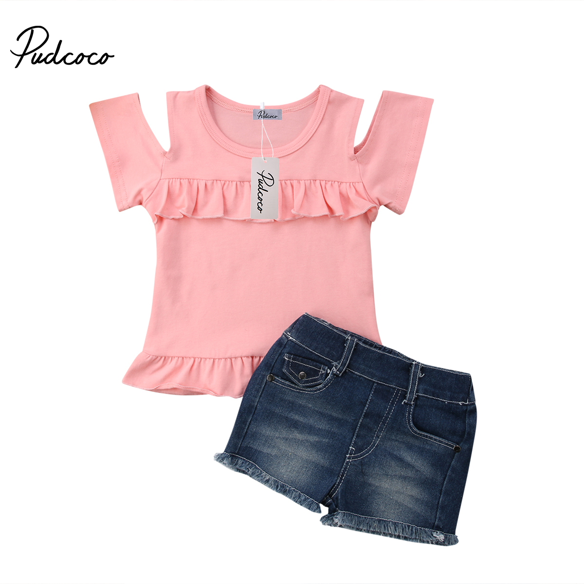 Pudcoco Toddler Girls Summer Clothing Set Casual Off Shoulder T-shirt+Shorts Denim Pants Kids Children Clothes Outfits 2pcs 2pcs children outfit clothes kids baby girl off shoulder cotton ruffled sleeve tops striped t shirt blue denim jeans sunsuit set