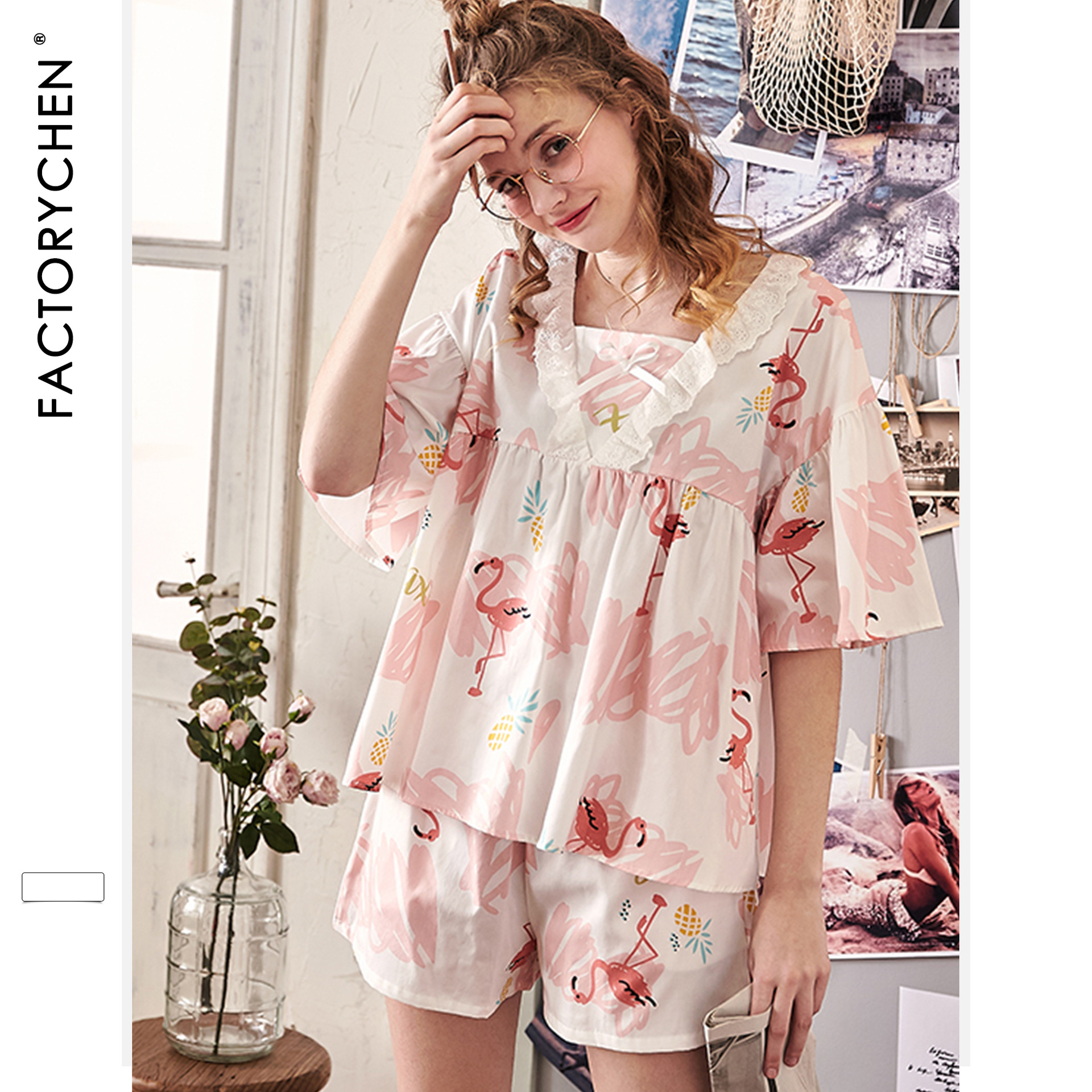 Image 2 - Свободные женские пижамы с коротким рукавом и рисунком фламинго, летние шорты, пижама с v образным вырезом, пижама с принтом, домашняя одежда для сна, комплект из 2 предметов-in Комплекты пижам from Нижнее белье и пижамы on AliExpress - 11.11_Double 11_Singles' Day