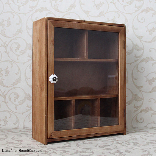 Natural Finish Antique Brown Wood Small Storage Cabinet With Glass Door