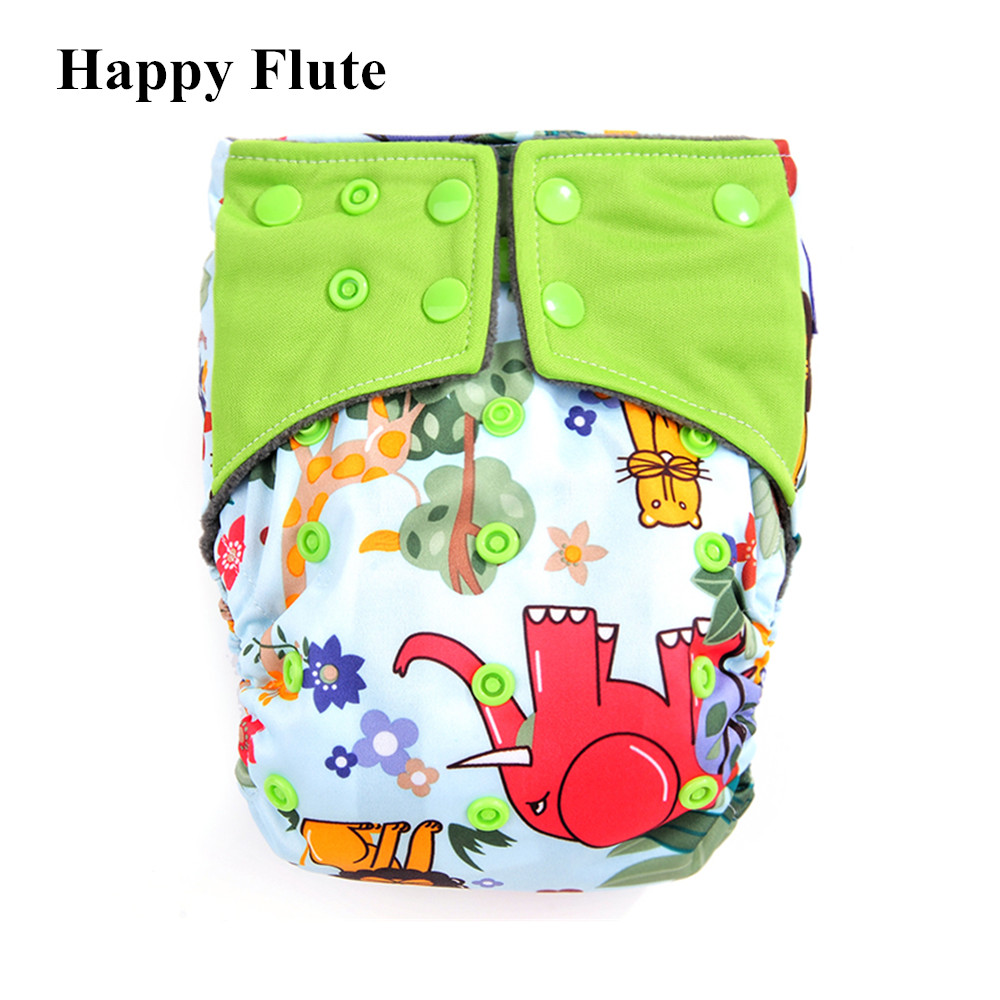 New Happy Flute AIO Cloth Diaper Resuable Diapers for Children, Bamboo Charcoal Double Gussets Super-absorbency, Fit 3-15kg Baby