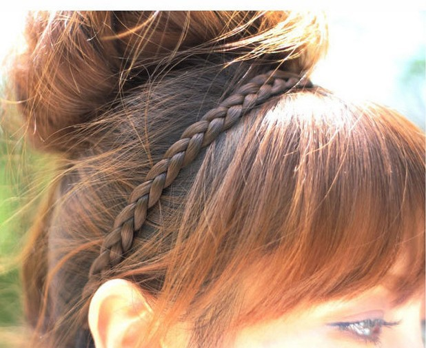 Women Braided Synthetic Hair Black Brown Blonde Plaited Head Alice band Hairband
