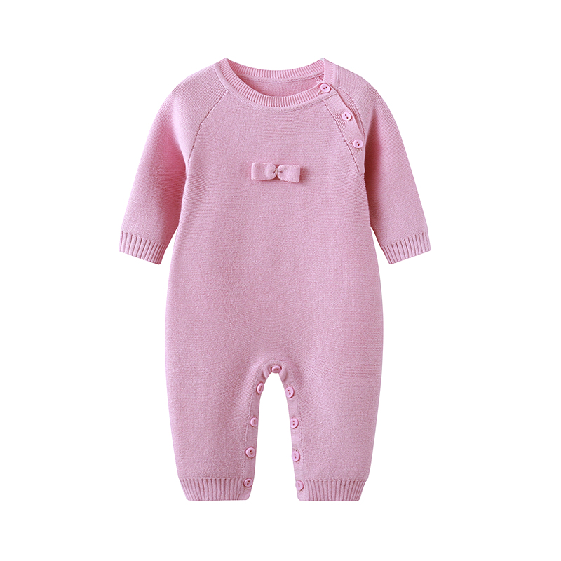 Auro Mesa Mercerized cotton Baby Girls Knit Romper Solid bowknot Pink Baby Clothes for Autumn Winter Auro Mesa Mercerized cotton Baby Girls Knit Romper Solid bowknot Pink Baby Clothes for Autumn Winter
