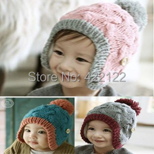 Winter Ear Protector Knitted Hats For Boy/girl/kits Hats,infants Caps Beanine Chilldren-Dot Turtleneck 2pcs/lots  MC01