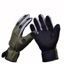 Winter Fishing Glove Warm Thick waterproof Anti slip Lure Gloves 3 Fingers Cut Expose