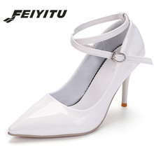 feiyitu Womens Wedding Shoes White Cross-tied Pumps sexy Woman High Heels Dress Ladies patent Leather Office Lady