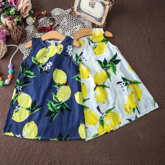 Мода девушка платье детская одежда без рукавов хлопок lemon печати сарафан дети летнее платье милые дети платья для девочек