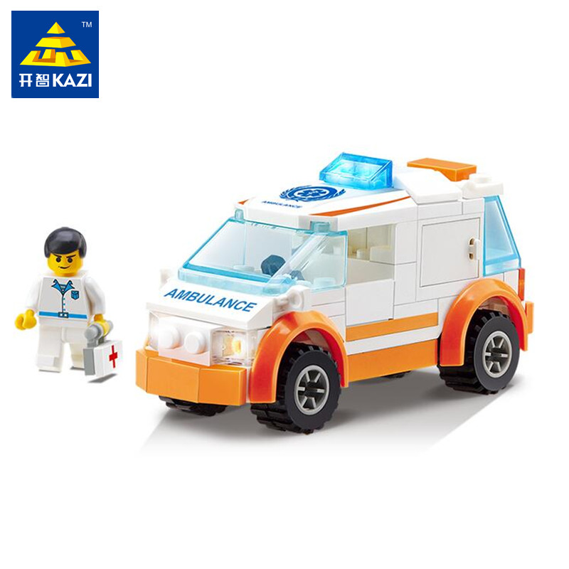 KAZI 92+pcs Ambulance Car Truck Building Blocks Sets Toys for Children Educational Assembling Bricks Gift Toy Brinquedos menino kazi 608pcs pirates armada flagship building blocks brinquedos caribbean warship sets the black pearl compatible with bricks