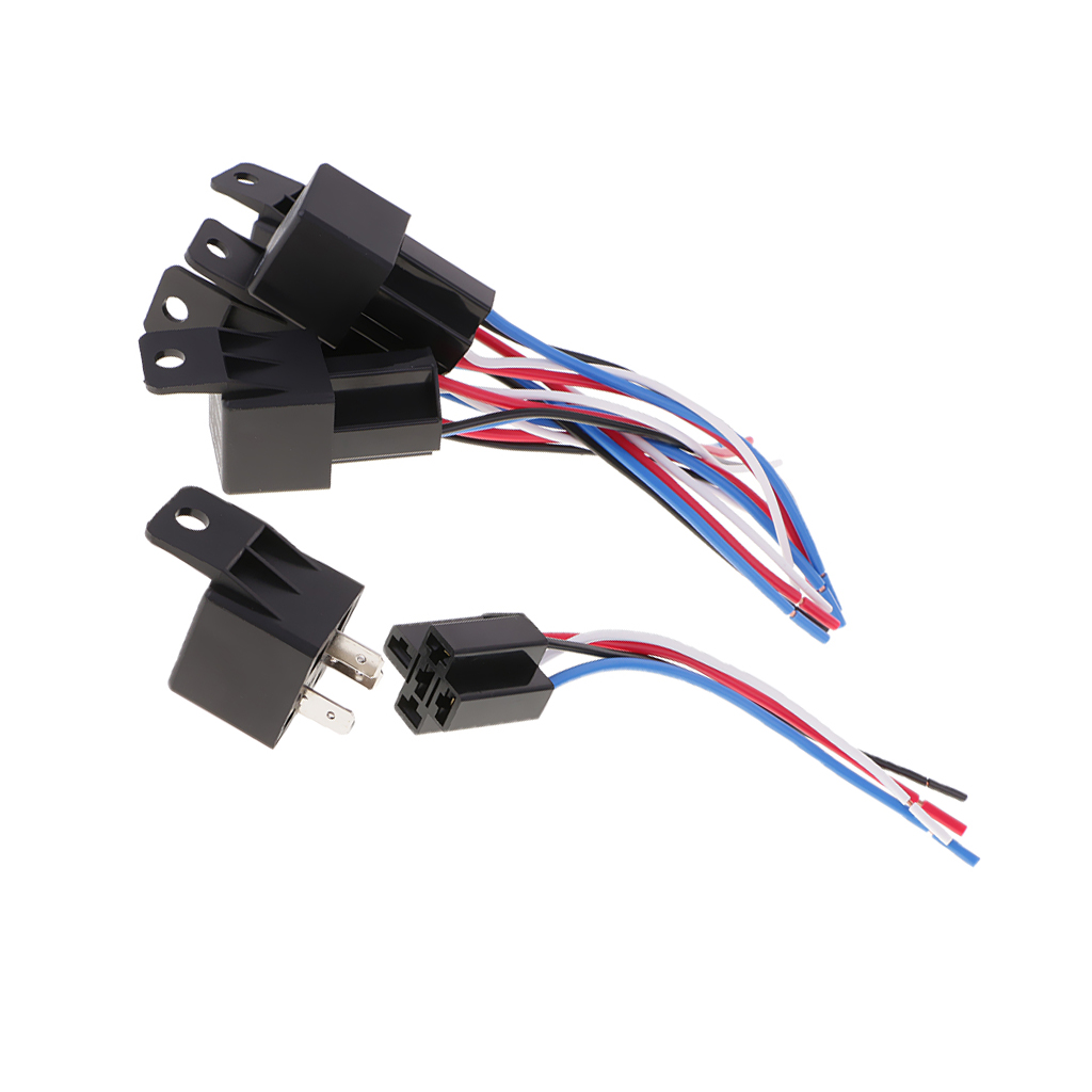 5 pieces dc12v 40amp car spdt automotive relay 4 pin 4 wires harness socket  -in relays from home improvement on aliexpress com | alibaba group